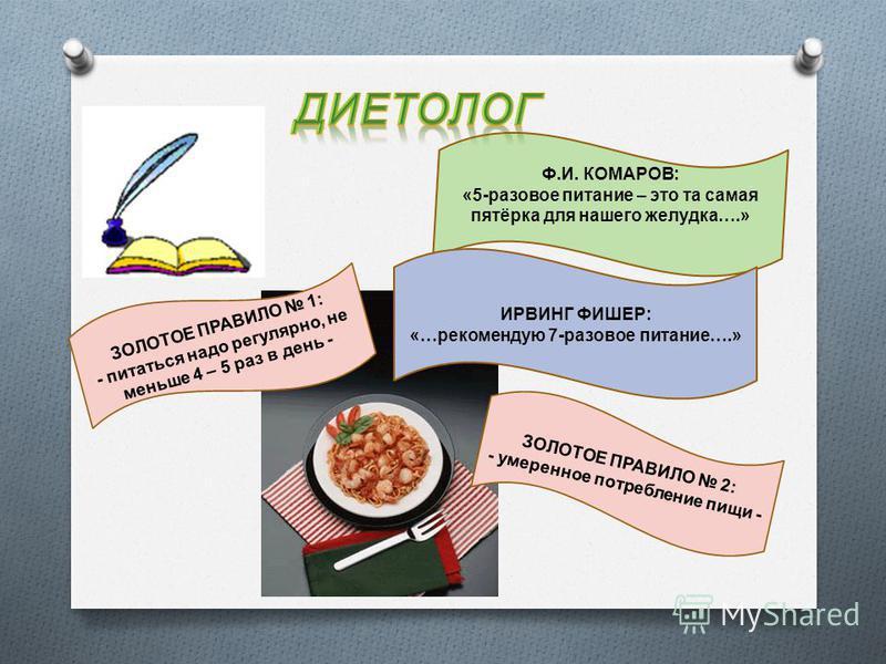 Ф.И. КОМАРОВ: «5-разовое питание – это та самая пятёрка для нашего желудка….» ИРВИНГ ФИШЕР: «…рекомендую 7-разовое питание….» ЗОЛОТОЕ ПРАВИЛО 1: - питаться надо регулярно, не меньше 4 – 5 раз в день - ЗОЛОТОЕ ПРАВИЛО 2: - умеренное потребление пищи -