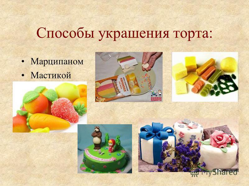 Способы украшения торта: Марципаном Мастикой