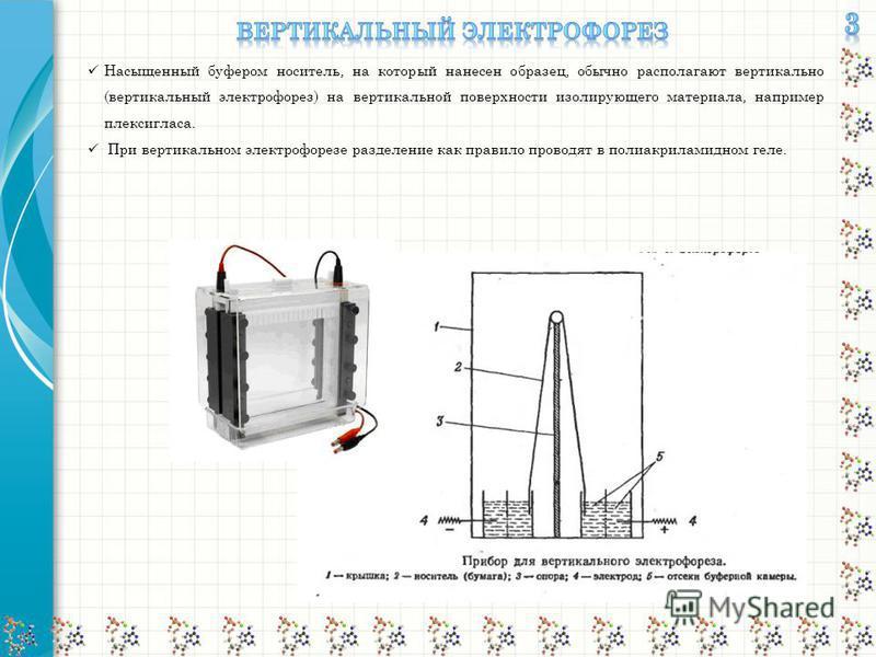 Насыщенный буфером носитель, на который нанесен образец, обычно располагают вертикально (вертикальный электрофорез) на вертикальной поверхности изолирующего материала, например плексигласа. При вертикальном электрофорезе разделение как правило провод