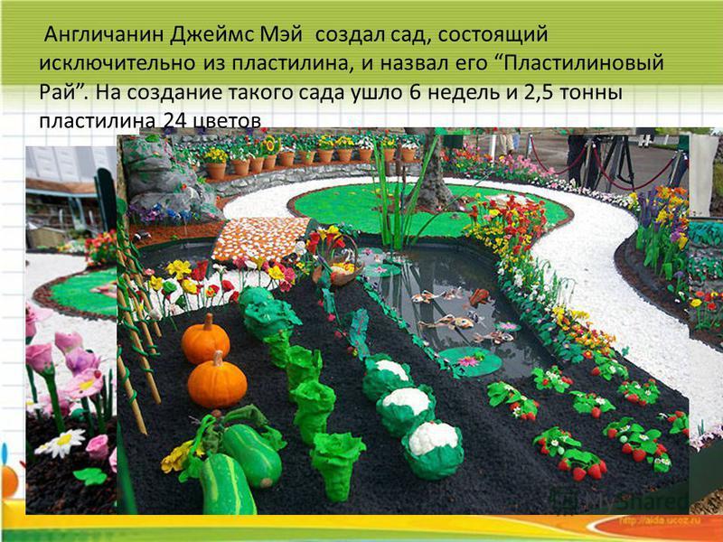 Англичанин Джеймс Мэй создал сад, состоящий исключительно из пластилина, и назвал его Пластилиновый Рай. На создание такого сада ушло 6 недель и 2,5 тонны пластилина 24 цветов