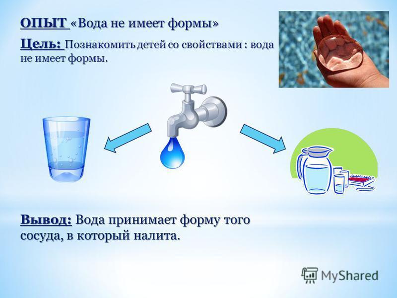 ОПЫТ «Вода не имеет формы» Цель: Познакомить детей со свойствами : вода не имеет формы. Вывод: Вода принимает форму того сосуда, в который налита.