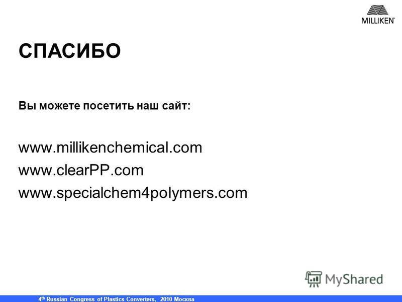 Milliken & Co, 21 сентября (2005) – Полипропилен 2005 (Maack Business Services) 4 th Russian Congress of Plastics Converters, 2010 Москва СПАСИБО Вы можете посетить наш сайт: www.millikenchemical.com www.clearPP.com www.specialchem4polymers.com