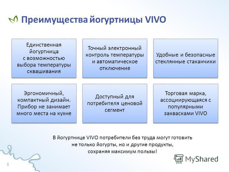 Преимущества йогуртницы VIVO 5 Единственная йогуртница с возможностью выбора температуры сквашивания Точный электронный контроль температуры и автоматическое отключение Удобные и безопасные стеклянные стаканчики Эргономичный, компактный дизайн. Прибо