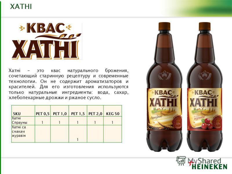 ХАТНI Хатнi - это квас натурального брожения, сочетающий старинную рецептуру и современные технологии. Он не содержит ароматизаторов и красителей. Для его изготовления используются только натуральные ингредиенты: вода, сахар, хлебопекарные дрожжи и р