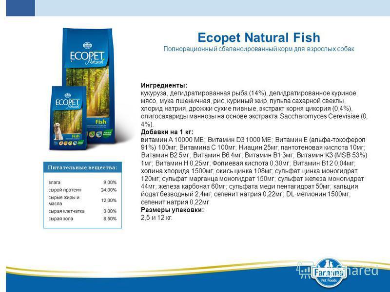 Ecopet Natural Fish Полнорационный сбалансированный корм для взрослых собак Ингредиенты: кукуруза, дегидратированная рыба (14%), дегидратированное куриное мясо, мука пшеничная, рис, куриный жир, пульпа сахарной свеклы, хлорид натрия, дрожжи сухие пив
