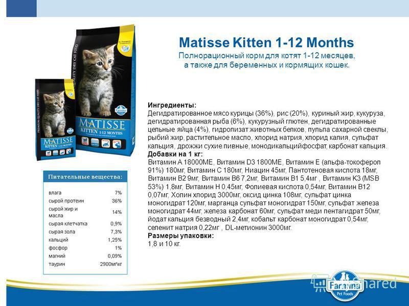 Matisse Kitten 1-12 Months Полнорационный корм для котят 1-12 месяцев, а также для беременных и кормящих кошек. Ингредиенты: Дегидратированное мясо курицы (36%), рис (20%), куриный жир, кукуруза, дегидратированная рыба (6%), кукурузный глютен, дегидр