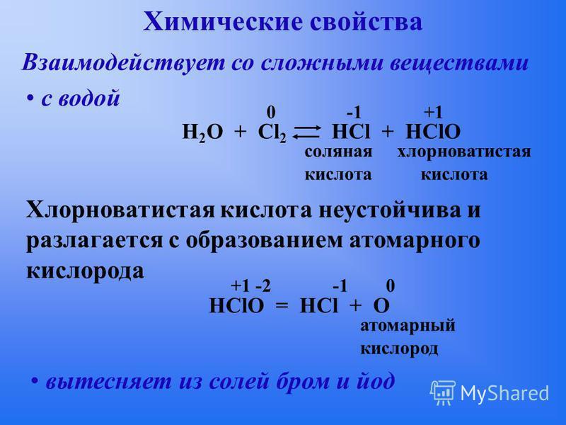 Химические свойства Взаимодействует со сложными веществами с водой H 2 О + Cl 2 HCl + НСlO 0 -1 +1 соляная хлорноватистая кислота Хлорноватистая кислота неустойчива и разлагается с образованием атомарного кислорода HClO = HCl + O атомарный кислород +