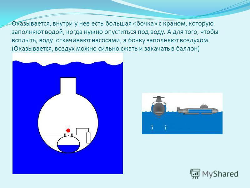 Оказывается, внутри у нее есть большая «бочка» с краном, которую заполняют водой, когда нужно опуститься под воду. А для того, чтобы всплыть, воду откачивают насосами, а бочку заполняют воздухом. (Оказывается, воздух можно сильно сжать и закачать в б