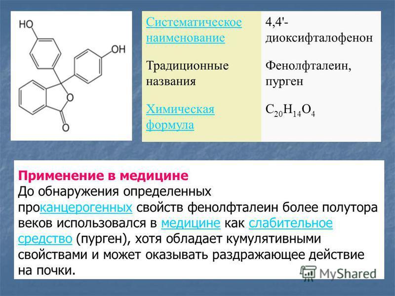 Систематическое наименование 4,4'- диоксифталофенон Традиционные названия Фенолфталеин, пурген Химическая формула C 20 H 14 O 4 Применение в медицине До обнаружения определенных про канцерогенных свойств фенолфталеин более полутора веков использовалс