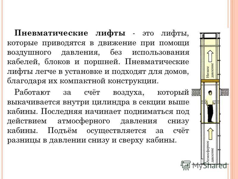 Пневматические лифты - это лифты, которые приводятся в движение при помощи воздушного давления, без использования кабелей, блоков и поршней. Пневматические лифты легче в установке и подходят для домов, благодаря их компактной конструкции. Работают за