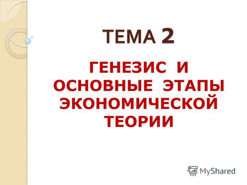ТЕМА 2 ГЕНЕЗИС И ОСНОВНЫЕ ЭТАПЫ ЭКОНОМИЧЕСКОЙ ТЕОРИИ