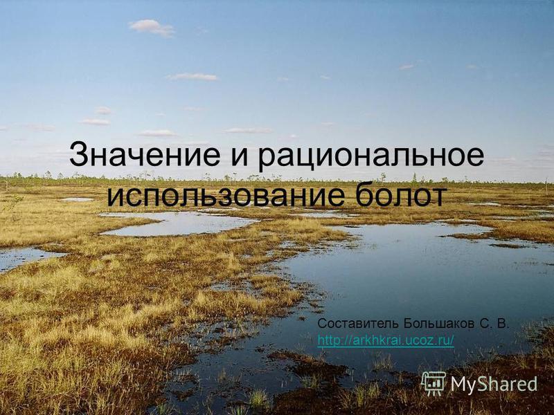 Значение и рациональное использование болот Составитель Большаков С. В. http://arkhkrai.ucoz.ru/