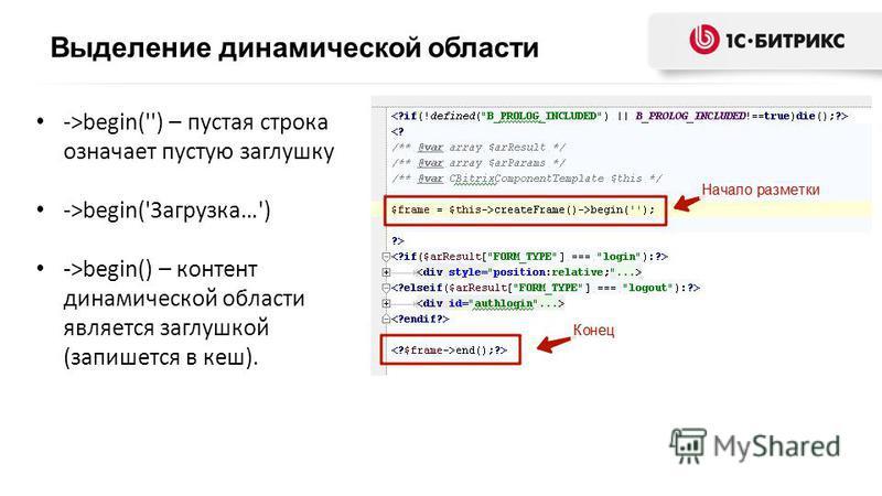 ->begin('') – пустая строка означает пустую заглушку ->begin('Загрузка…') ->begin() – контент динамической области является заглушкой (запишется в кеш).