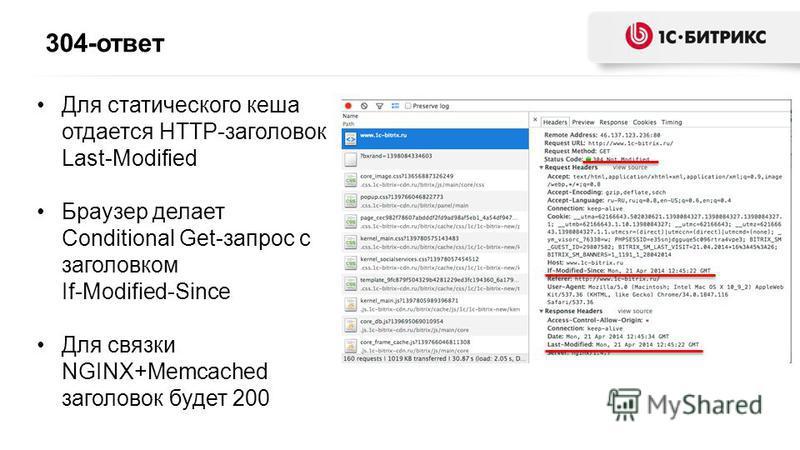 304-ответ Для статического кеша отдается HTTP-заголовок Last-Modified Браузер делает Conditional Get-запрос с заголовком If-Modified-Since Для связки NGINX+Memcached заголовок будет 200