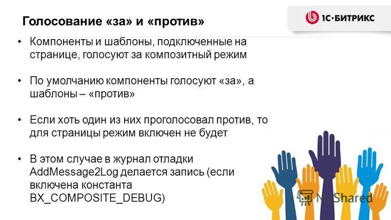 Голосование «за» и «против» Компоненты и шаблоны, подключенные на странице, голосуют за композитный режим По умолчанию компоненты голосуют «за», а шаблоны – «против» Если хоть один из них проголосовал против, то для страницы режим включен не будет В