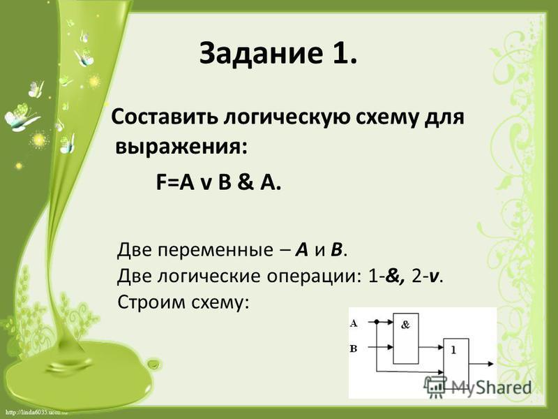 http://linda6035.ucoz.ru/ Задание 1. Составить логическую схему для выражения: F=A v B & A. Две переменные – А и В. Две логические операции: 1-&, 2-v. Строим схему: