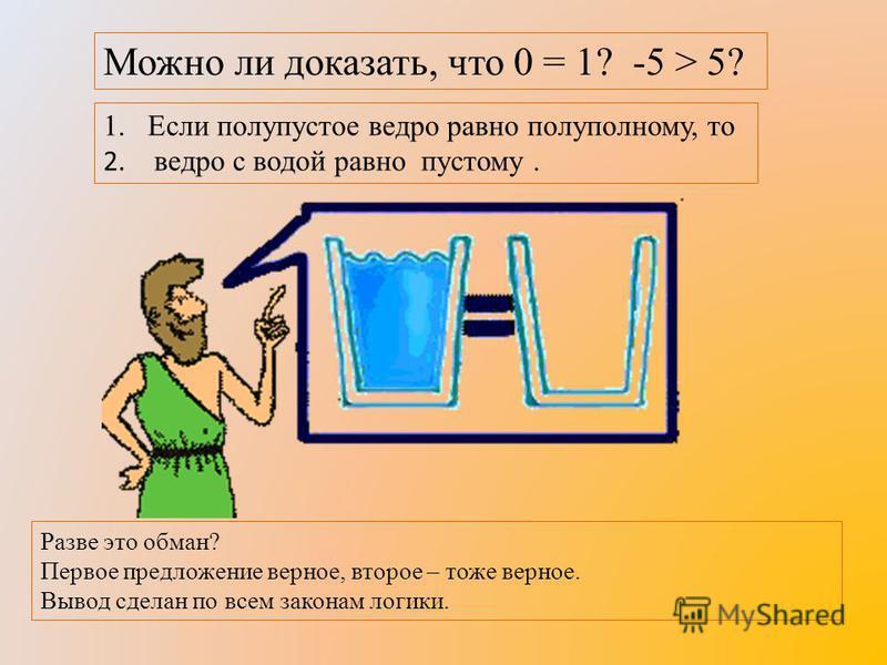 Можно ли доказать, что 0 = 1? -5 > 5? 1. Если полупустое ведро равно полу полному, то 2. ведро с водой равно пустому. Разве это обман? Первое предложение верное, второе – тоже верное. Вывод сделан по всем законам логики.