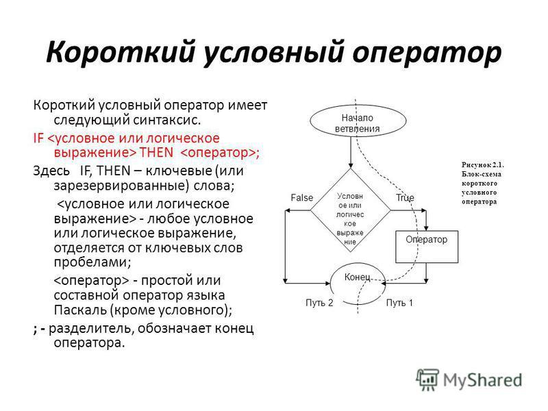 Короткий условный оператор Короткий условный оператор имеет следующий синтаксис. IF THEN ; Здесь IF, THEN – ключевые (или зарезервированные) слова; - любое условное или логическое выражение, отделяется от ключевых слов пробелами; - простой или состав