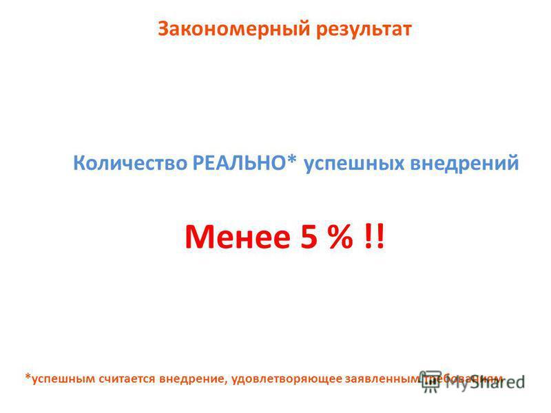 Закономерный результат Количество РЕАЛЬНО* успешных внедрений Менее 5 % !! *успешным считается внедрение, удовлетворяющее заявленным требованиям