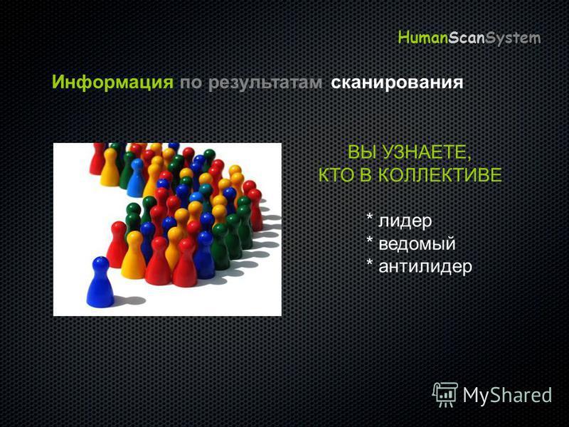Информация по результатам сканирования ВЫ УЗНАЕТЕ, КТО В КОЛЛЕКТИВЕ * лидер * ведомый * антилидер HumanScanSystem