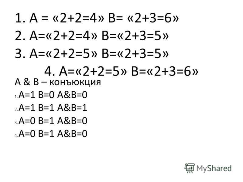 1. А = «2+2=4» В= «2+3=6» 2. А=«2+2=4» В=«2+3=5» 3. А=«2+2=5» В=«2+3=5» 4. А=«2+2=5» В=«2+3=6» А & B – конъюкция 1. А=1 В=0 А&B=0 2. A=1 B=1 A&B=1 3. A=0 B=1 A&B=0 4. A=0 B=1 A&B=0