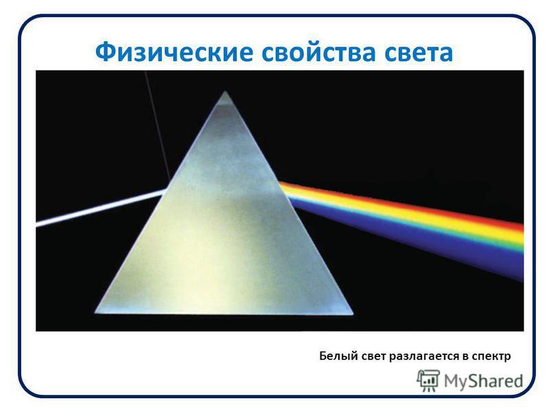 Физические свойства света Белый свет разлагается в спектр