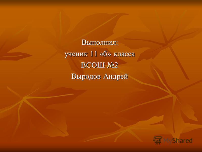 Выполнил: ученик 11 «б» класса ВСОШ 2 Выродов Андрей