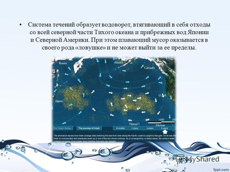 Система течений образует водоворот, втягивающий в себя отходы со всей северной части Тихого океана и прибрежных вод Японии и Северной Америки. При этом плавающий мусор оказывается в своего рода «ловушке» и не может выйти за ее пределы.