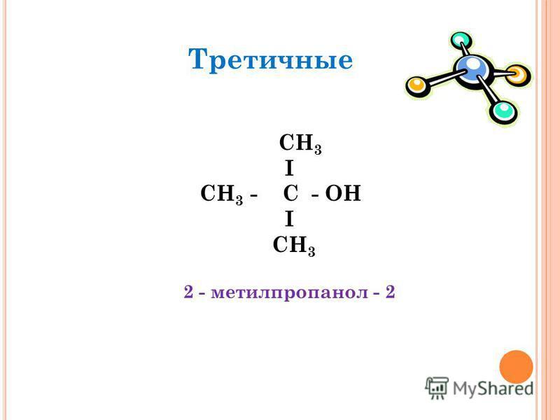 Третичные СН 3 I СН 3 - C - OН I СН 3 2 - метилпропанол - 2