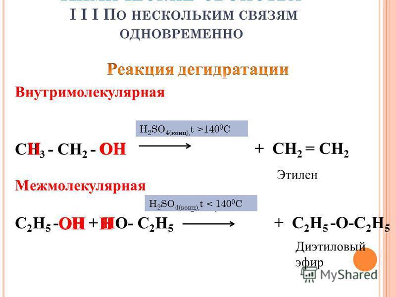 Внутримолекулярная H 2 SO 4, t СН 3 - СН 2 - ОН ОН Межмолекулярная H 2 SO 4, t С 2 Н 5 -ОН + НО- С 2 Н 5 ОНН Н + СН 2 = СН 2 + С 2 Н 5 -О-С 2 Н 5 Этилен Диэтиловый эфир H 2 SO 4(конц), t >140 0 С H 2 SO 4(конц), t < 140 0 С