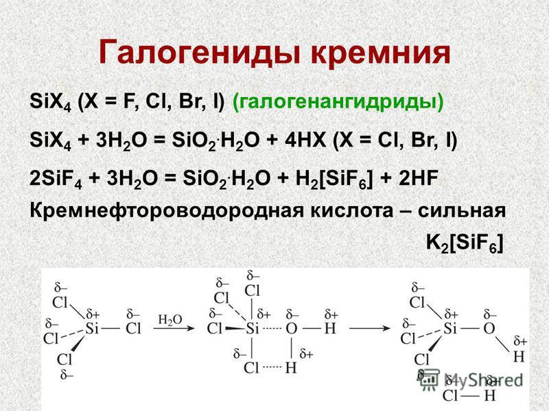 11 Галогениды кремния SiX 4 (X = F, Cl, Br, I) (галогенангидриды) SiX 4 + 3H 2 O = SiO 2. H 2 O + 4HX (X = Cl, Br, I) 2SiF 4 + 3H 2 O = SiO 2. H 2 O + H 2 [SiF 6 ] + 2HF Кремнефтороводородная кислота – сильная K 2 [SiF 6 ]