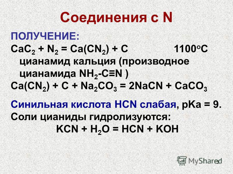 3 Соединения с N ПОЛУЧЕНИЕ: CaC 2 + N 2 = Ca(CN 2 ) + C 1100 o C цианамид кальция (производное цианамида NH 2 -CN ) Ca(CN 2 ) + C + Na 2 CO 3 = 2NaCN + CaCO 3 Синильная кислота HCN слабая, pKa = 9. Соли цианиды гидролизуются: KCN + H 2 O = HCN + KOH