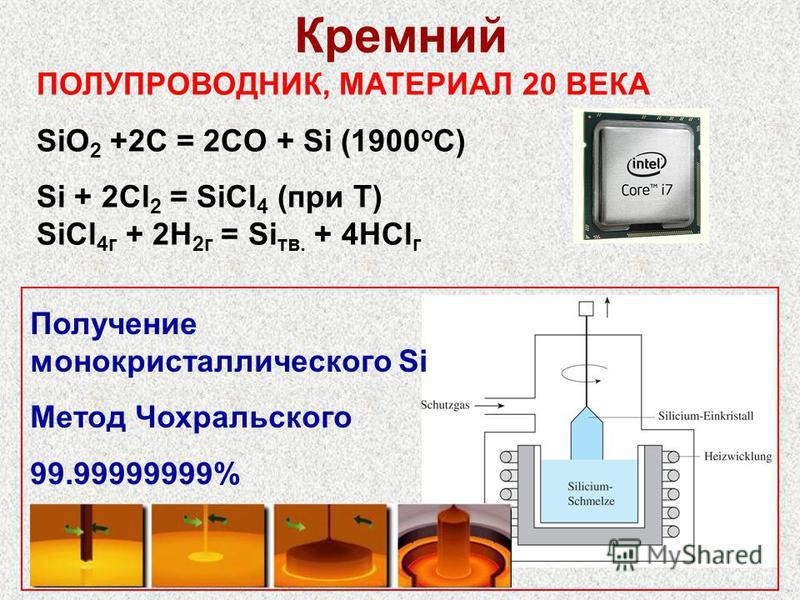 ПОЛУПРОВОДНИК, МАТЕРИАЛ 20 ВЕКА SiO 2 +2C = 2CO + Si (1900 o C) Si + 2Cl 2 = SiCl 4 (при Т) SiCl 4 г + 2H 2 г = Si тв. + 4HCl г 7 Кремний Получение монокристаллического Si Метод Чохральского 99.99999999%