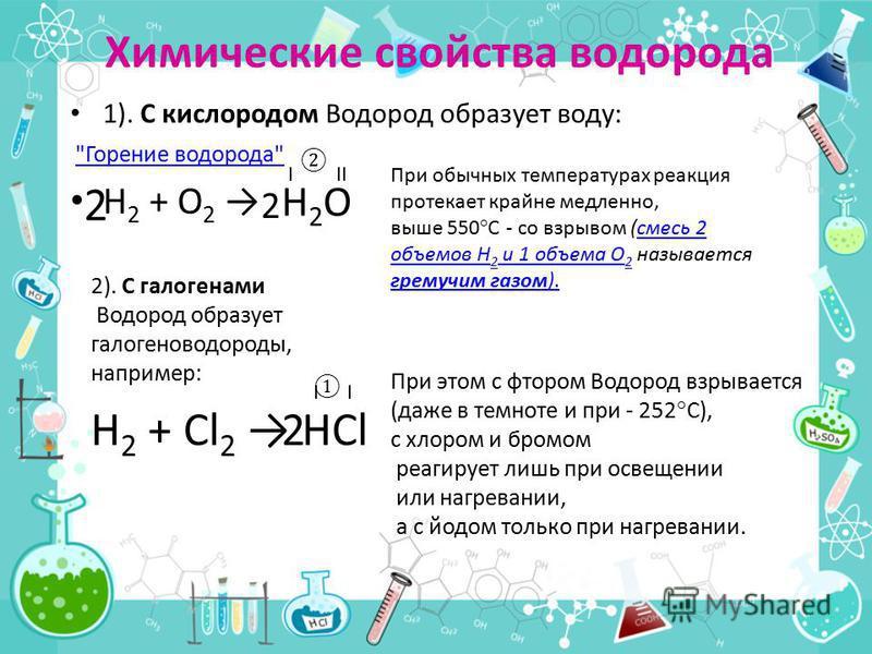 Химические свойства водорода 1). С кислородом Водород образует воду: