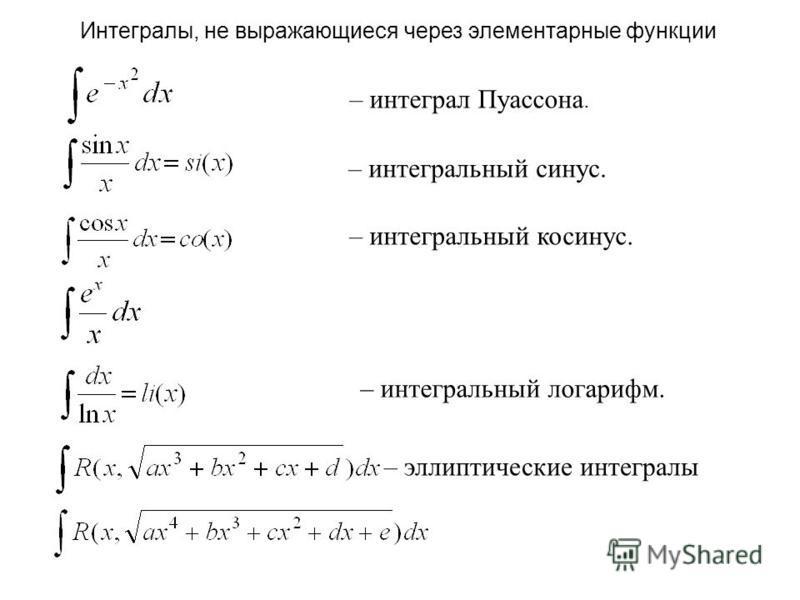 Интегралы, не выражающиеся через элементарные функции – интеграл Пуассона. – интегральный синус. – интегральный косинус. – интегральный логарифм. – эллиптические интегралы