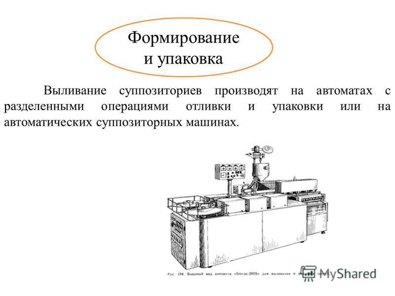 Формирование и упаковка Выливание суппозиториев производят на автоматах с разделенными операциями отливки и упаковки или на автоматических суппозиторных машинах.