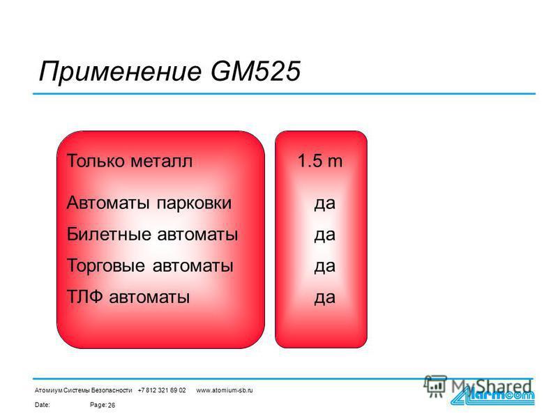 Date:Page: Атомиум Системы Безопасности +7 812 321 69 02 www.atomium-sb.ru 26 Автоматы парковки Билетные автоматы Торговые автоматы ТЛФ автоматы да Применение GM525 Только металл 1.5 m