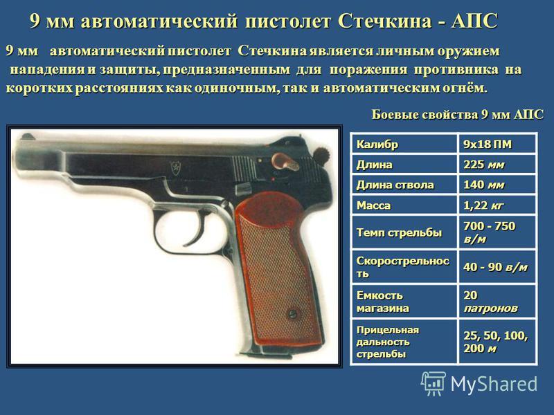 9 мм автоматический пистолет Стечкина - АПС 9 мм автоматический пистолет Стечкина является личным оружием нападения и защиты, предназначенным для поражения противника на нападения и защиты, предназначенным для поражения противника на коротких расстоя