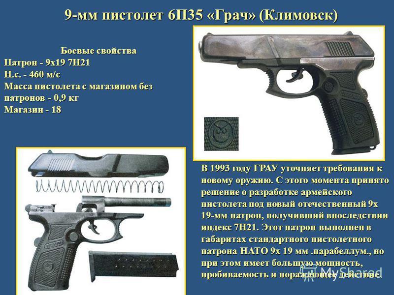 9-мм пистолет 6П35 «Грач» (Климовск) Боевые свойства Патрон - 9 х 19 7Н21 Н.с. - 460 м/с Масса пистолета c магазином без патронов - 0,9 кг Магазин - 18 В 1993 году ГРАУ уточняет требования к новому оружию. С этого момента принято решение о разработке