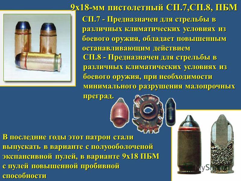 9 х 18-мм пистолетный СП.7,СП.8, ПБМ СП.7 - Предназначен для стрельбы в различных климатических условиях из боевого оружия, обладает повышенным останавливающим действием СП.8 - Предназначен для стрельбы в различных климатических условиях из боевого о