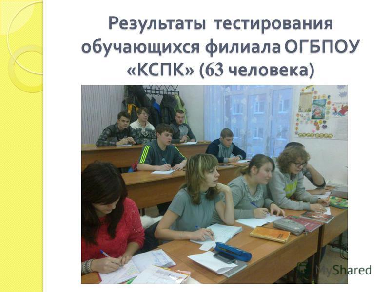 Результаты тестирования обучающихся филиала ОГБПОУ « КСПК » ( 63 человека )