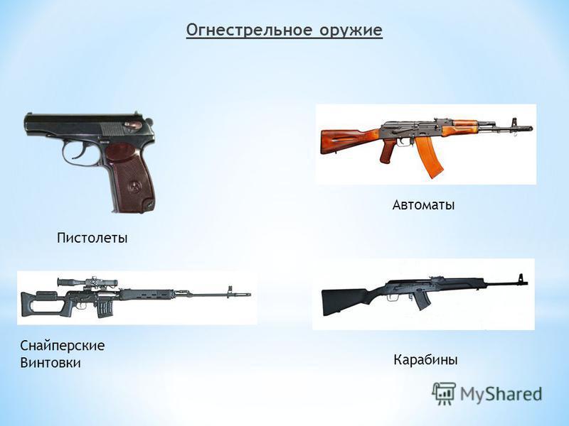 Огнестрельное оружие Пистолеты Снайперские Винтовки Автоматы Карабины
