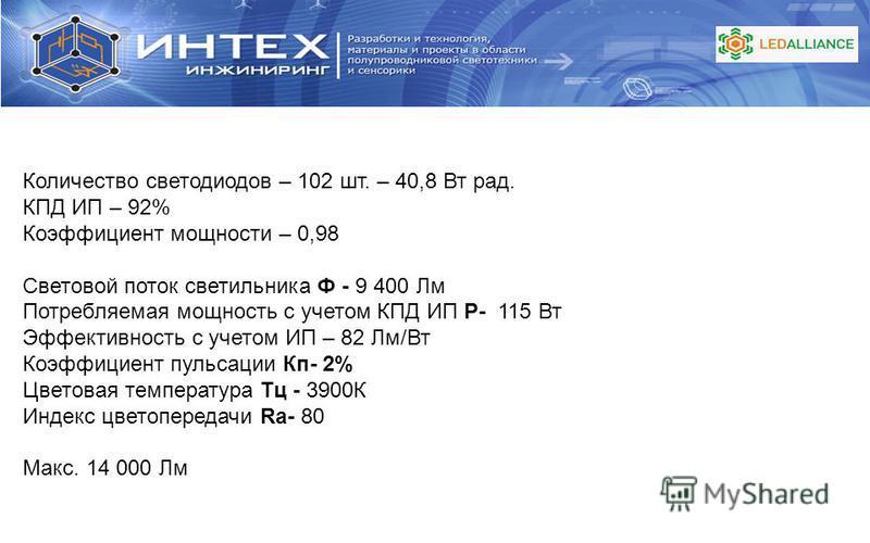 Количество светодиодов – 102 шт. – 40,8 Вт рад. КПД ИП – 92% Коэффициент мощности – 0,98 Световой поток светильника Ф - 9 400 Лм Потребляемая мощность с учетом КПД ИП P- 115 Вт Эффективность с учетом ИП – 82 Лм/Вт Коэффициент пульсации Кп- 2% Цветова