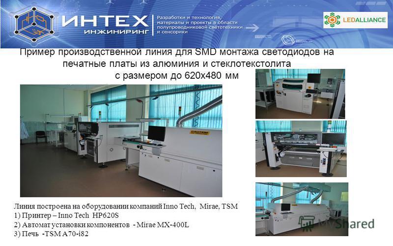 Пример производственной линия для SMD монтажа светодиодов на печатные платы из алюминия и стеклотекстолита с размером до 620 х 480 мм Линия построена на оборудовании компаний Inno Tech, Mirae, TSM 1) Принтер – Inno Tech HP620S 2) Автомат установки ко