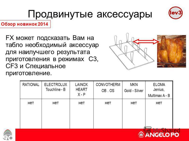 FX может подсказать Вам на табло необходимый аксессуар для наилучшего результата приготовления в режимах C3, CF3 и Специальное приготовление. www.angelopo.it 33 Продвинутые аксессуары lev3 Обзор новинок 2014 RATIONALELECTROLUX Touchline - B LAINOX HE