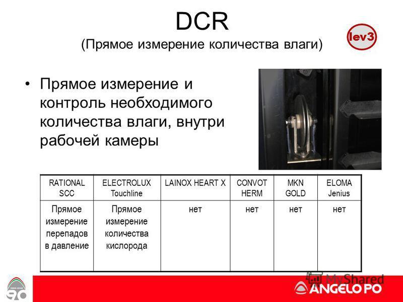 www.angelopo.it 44 DCR (Прямое измерение количества влаги) Прямое измерение и контроль необходимого количества влаги, внутри рабочей камеры RATIONAL SCC ELECTROLUX Touchline LAINOX HEART XCONVOT HERM MKN GOLD ELOMA Jenius Прямое измерение перепадов в