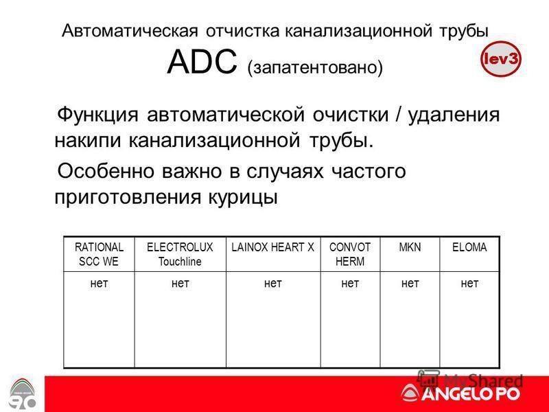 www.angelopo.it 52 Автоматическая отчистка канализационной трубы ADC (запатентовано) Функция автоматической очистки / удаления накипи канализационной трубы. Особенно важно в случаях частого приготовления курицы RATIONAL SCC WE ELECTROLUX Touchline LA