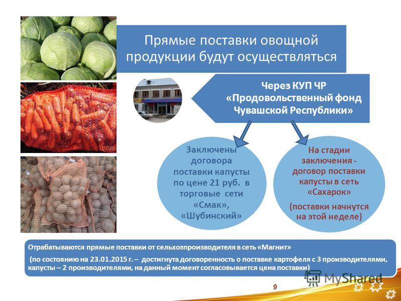 Прямые поставки овощной продукции будут осуществляться На стадии заключения - договор поставки капусты в сеть «Сахарок» (поставки начнутся на этой неделе) 9 Заключены договора поставки капусты по цене 21 руб. в торговые сети «Смак», «Шубинский» Через