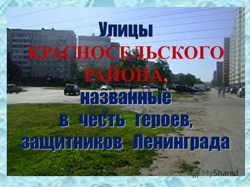 Улицы КРАСНОСЕЛЬСКОГО РАЙОНА,названные в честь героев, защитников Ленинграда.