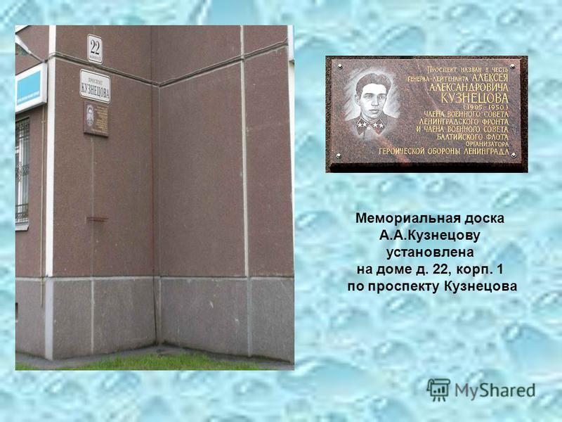 Мемориальная доска А.А.Кузнецову установлена на доме д. 22, корп. 1 по проспекту Кузнецова
